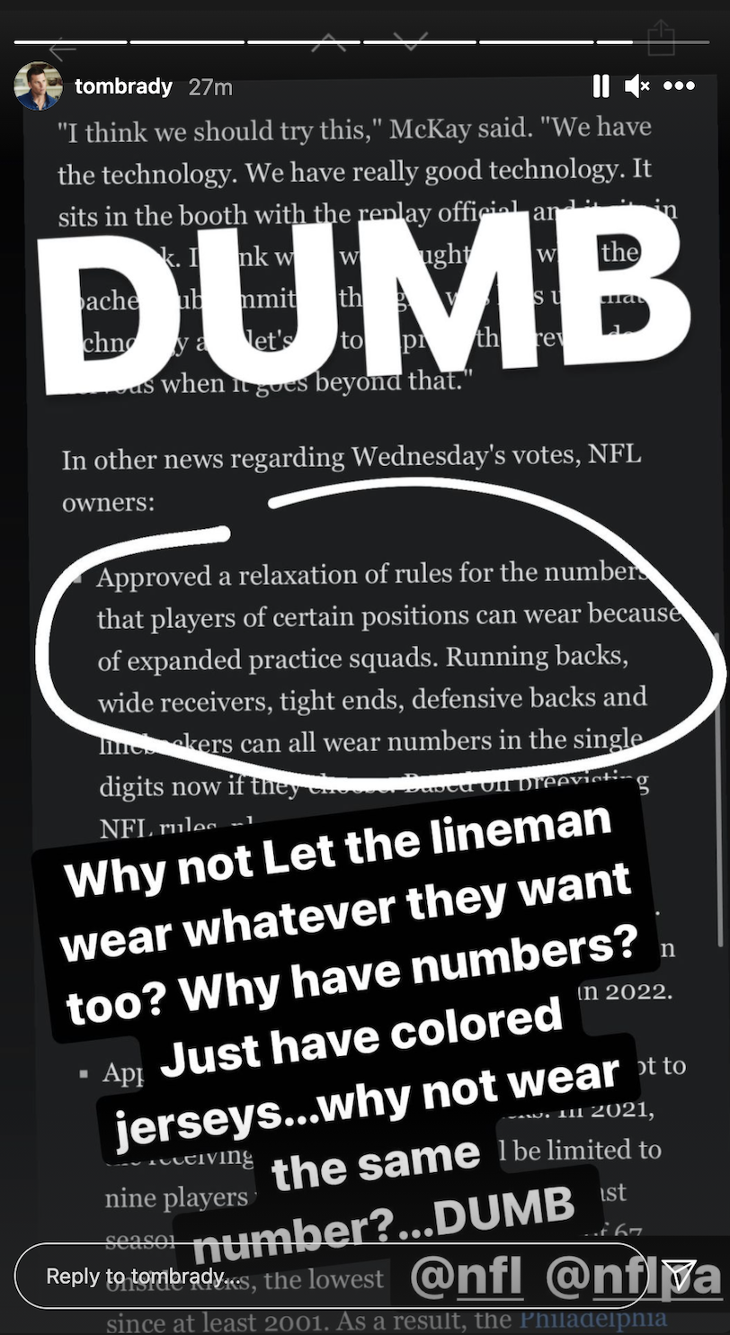 Tom Brady isn't a fan of the new number rule. (Screengrab from @tombrady on Instagram)