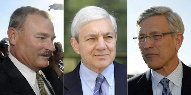 From left to right: Gary Shultz, Graham Spanier and Tim Curley. (AP)