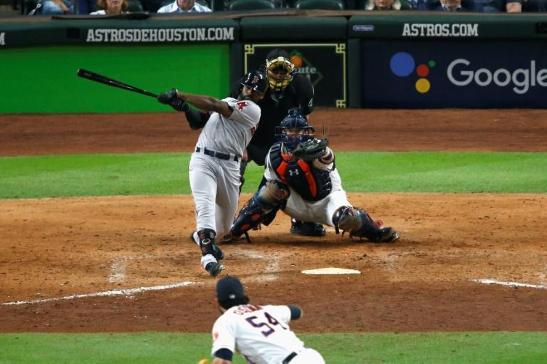 Boston's  Jackie Bradley Jr. smashes a grand slam in the Red Sox's 8-2 victory over the Houston Astros in game three of the 2018 American League Championship Series