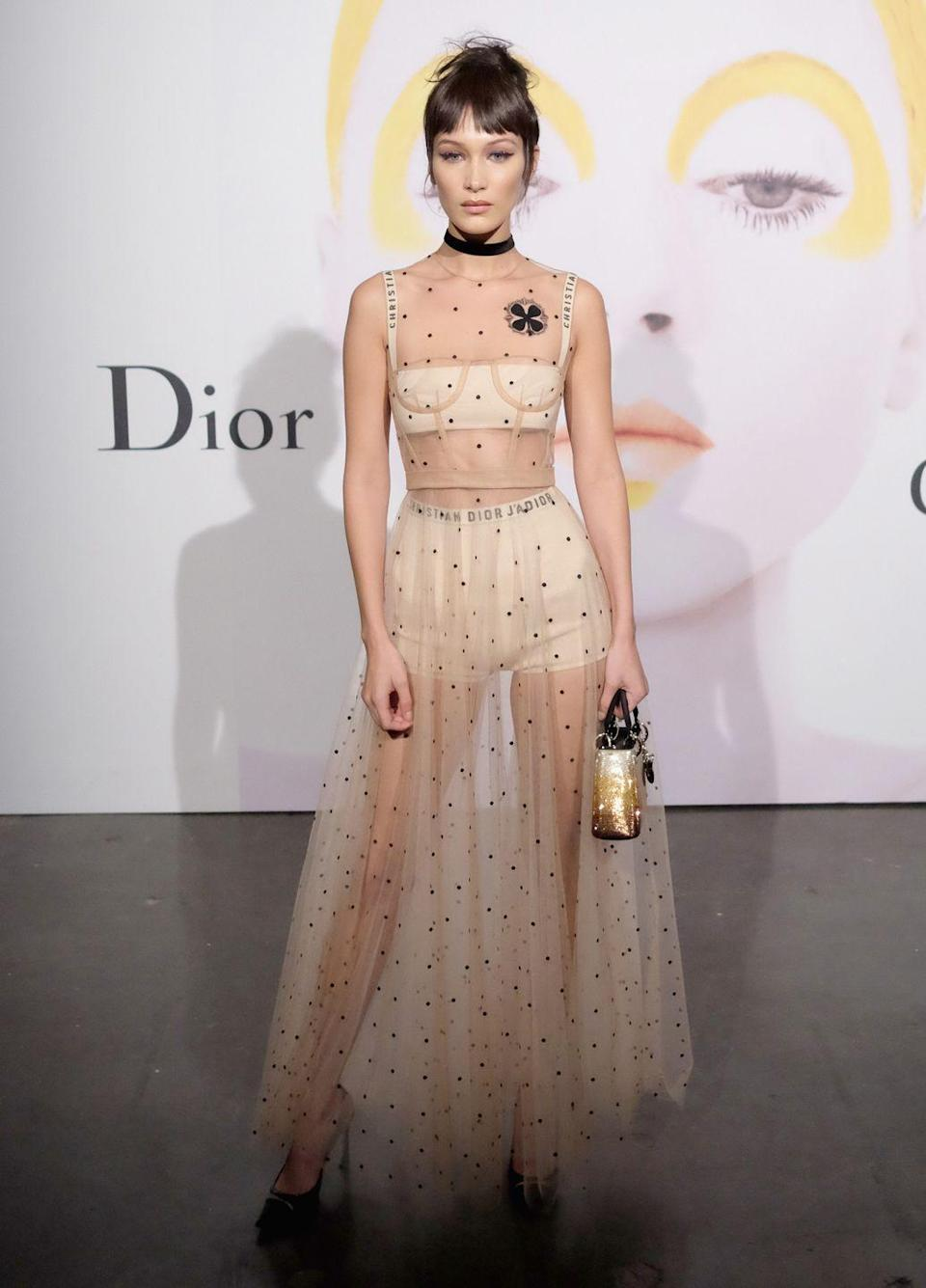 <p>Bella Hadid attends Dior Beauty celebrates The Art of Color with Peter Philips, Oct 2016</p>