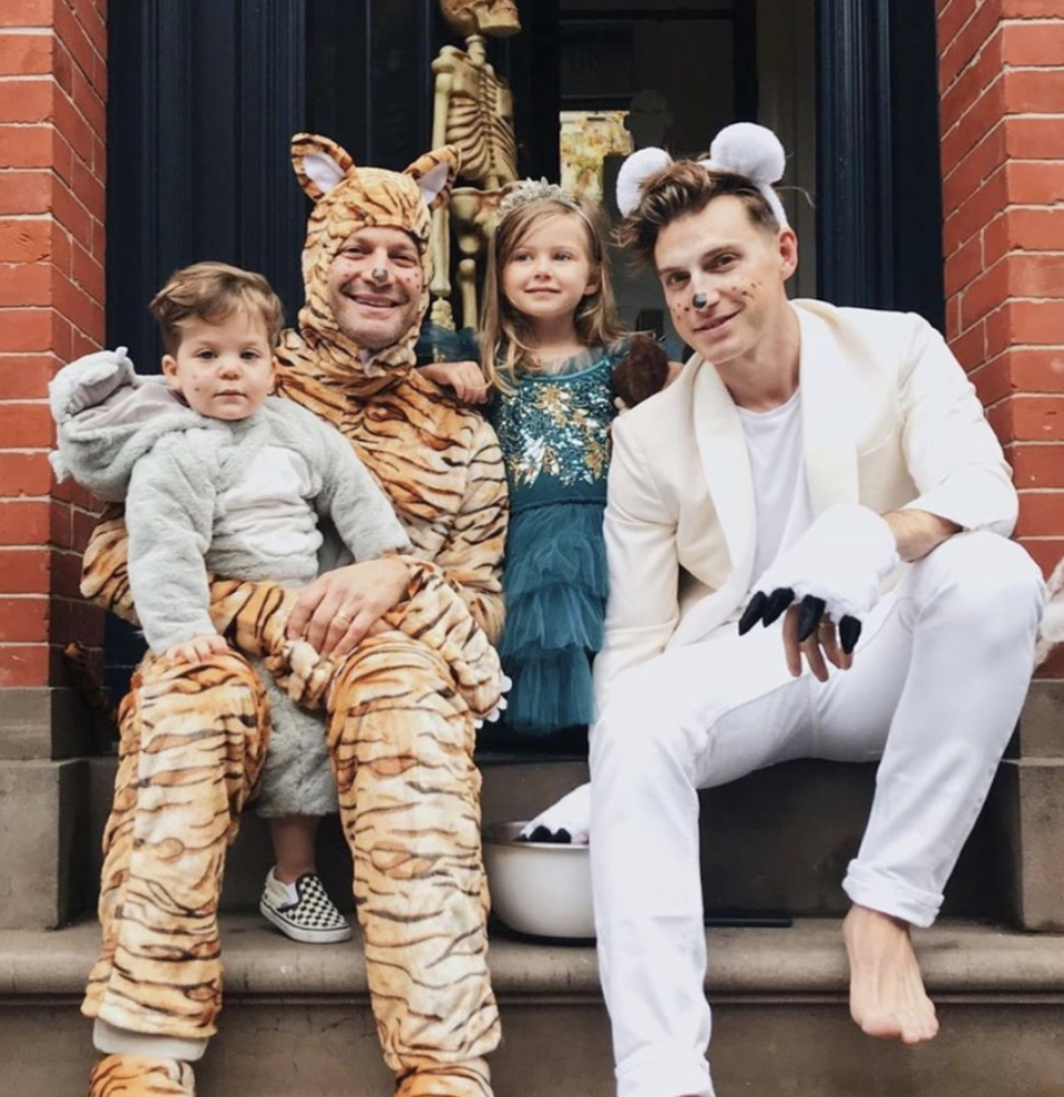<p>Nate Berkus and Jeremiah Brent, famously married interior designers from TLC's <em>Nate & Jeremiah by Design, </em>with their daughter Poppy and their son Oscar.</p>