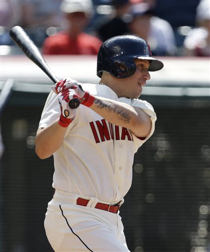 Cleveland Indians' Asdrubal Cabrera watches a single off Kansas City Royals relief pitcher Aaron Crow in the eighth inning of a baseball game, Sunday, July 14, 2013, in Cleveland. The Indians won 6-4 win over Kansas City and swept the three-game series. (AP Photo/Tony Dejak)