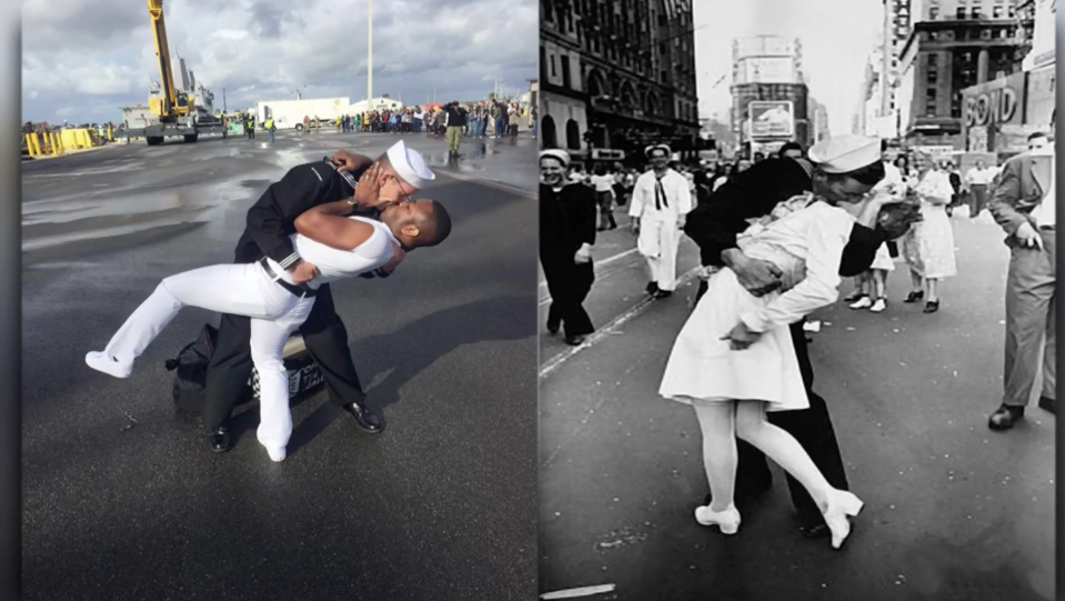 Kenneth and Bryan Woodington re-created the photo taken by Alfred Eisentaedt in 1945 of a sailor kissing a nurse. (Screenshot: News 4 Jax).