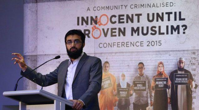 Hizb ut-Tahrir spokesman Uthman Badar delivers a speech during the conference