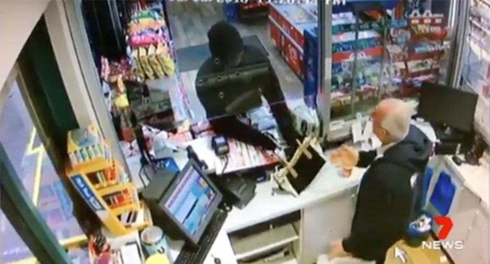A great-grandfather has refused to hand over cash despite being shot at in a bungled armed robbery at a Chester Hill Sydney service station. Source: 7 News