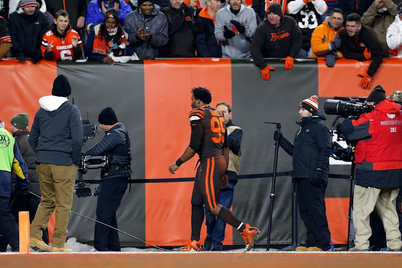 Cleveland's Myles Garrett reportedly will argue that the CBA doesn't allow for indefinite suspensions for on-field incidents. (Kirk Irwin/Getty Images)