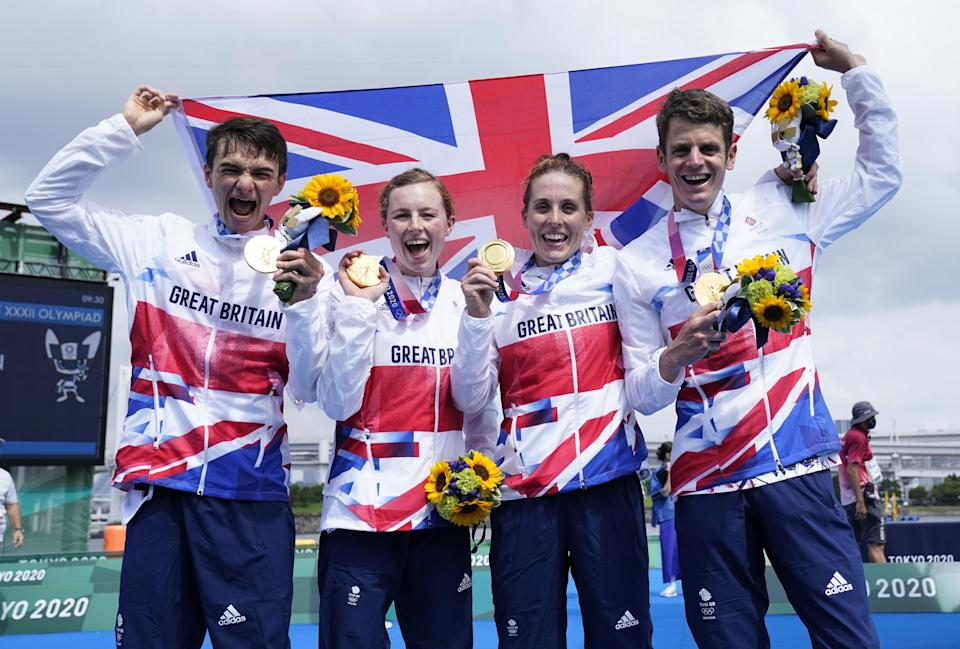 Britain's victorious triathlon team of (left to right) Alex Yee, Georgia Taylor-Brown, Jess Learmonth and Jonny Brownlee (Danny Lawson/PA) (PA Wire)