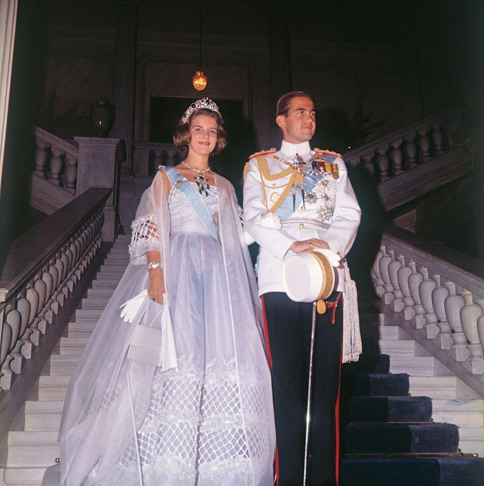 <p>Princess Anne Marie was married in simple high-waist gown with a delicate lace skirt detail. She and King Constantine II held their wedding at the Metropolitan Cathedral of the Annunciation in Athens on September 18, 1964.</p>