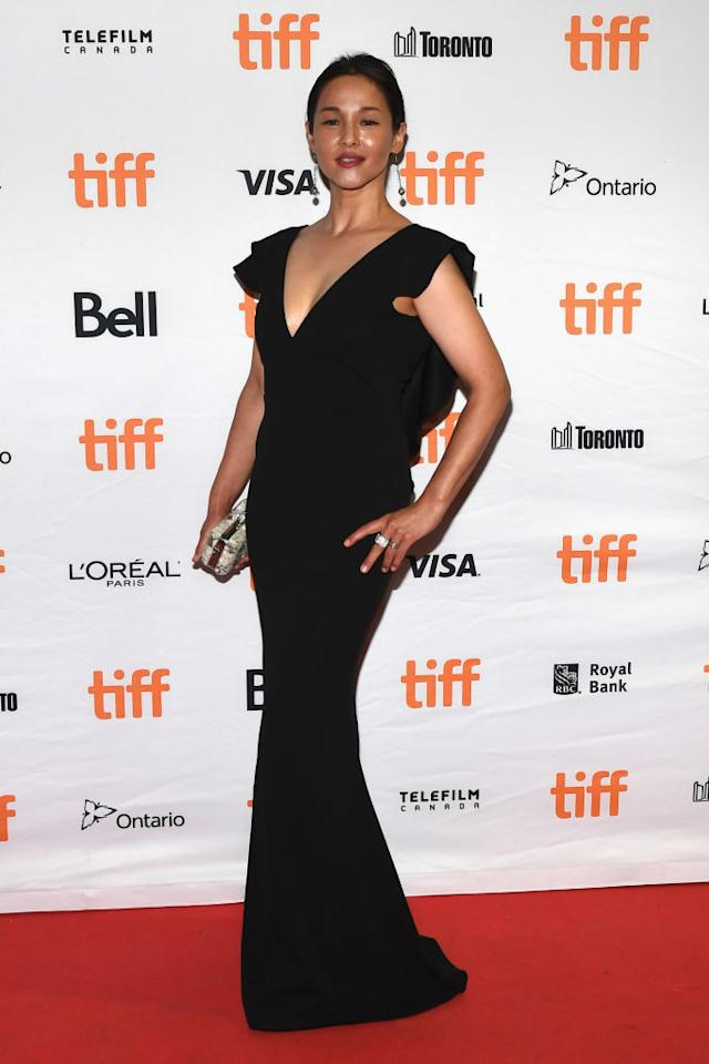 "<p>Actress and model Asuka Kurosawa, 45, wears a plunging black gown at the TIFF premiere of ""Vampire Clay"" at Ryerson Theatre <em>(TIFF 2017 Day 10, Sept. 16, '17.</em> <em>Photo by Sonia Recchia/Getty Images)</em> </p>"