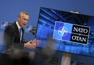 NATO Secretary General Jens Stoltenberg speaks during a media conference after a meeting of NATO foreign ministers at NATO headquarters in Brussels, Wednesday, March 24, 2021. (AP Photo/Virginia Mayo, Pool)