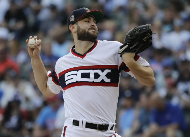 Chicago White Sox starting pitcher Lucas Giolito throws to a Chicago Cubs batter during the first inning of a baseball game in Chicago, Saturday, July 6, 2019. (AP Photo/Nam Y. Huh)