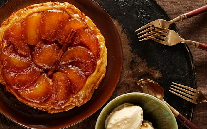 Stephen's luxurious tarte Tatin, served with home-made vanilla ice cream, is the perfect dessert for cold autumn nights - ANDREW TWORT