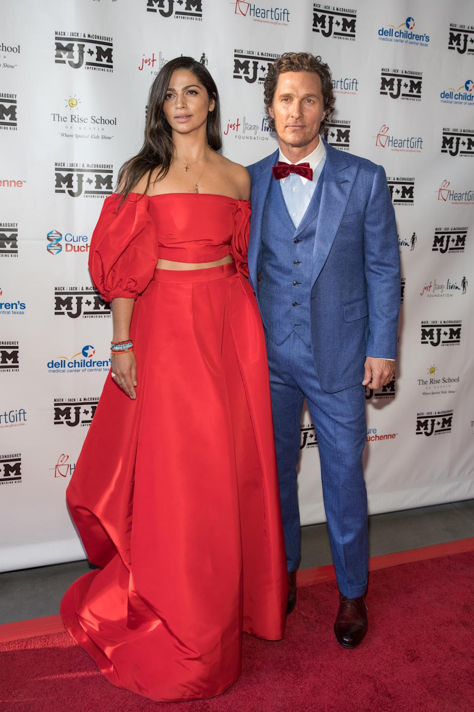 Camila Alves and Matthew McConaughey arrive at the Mack, Jack & McConaughey charity gala at ACL Live on April 25, 2019 in Austin, Texas.