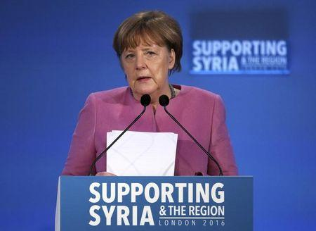 German Chancellor Angela Merkel speaks at the donors Conference for Syria in London