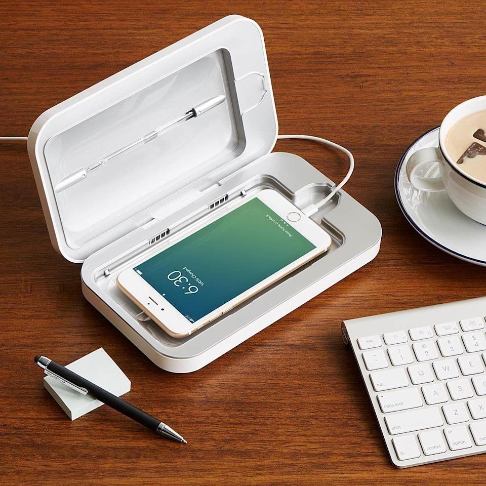 """<p><strong>PhoneSoap </strong></p><p>uncommongoods.com</p><p><strong>$80.00</strong></p><p><a href=""""https://go.redirectingat.com?id=74968X1596630&url=https%3A%2F%2Fwww.uncommongoods.com%2Fproduct%2Fphonesoap-smartphone-sanitizer&sref=https%3A%2F%2Fwww.seventeen.com%2Flife%2Fg23515577%2Fcool-gifts-for-teen-boys%2F"""" rel=""""nofollow noopener"""" target=""""_blank"""" data-ylk=""""slk:Shop Now"""" class=""""link rapid-noclick-resp"""">Shop Now</a></p><p>Did you know <a href=""""https://time.com/4908654/cell-phone-bacteria/"""" rel=""""nofollow noopener"""" target=""""_blank"""" data-ylk=""""slk:your phone is ten times dirtier than a toilet seat"""" class=""""link rapid-noclick-resp"""">your phone is ten times dirtier than a toilet seat</a>? Fix that with this mini sanitizer. </p>"""