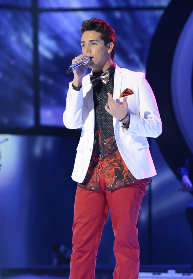 "Lazaro Arbos performs ""Angels"" on the Wednesday, April 10 episode of ""American Idol."""