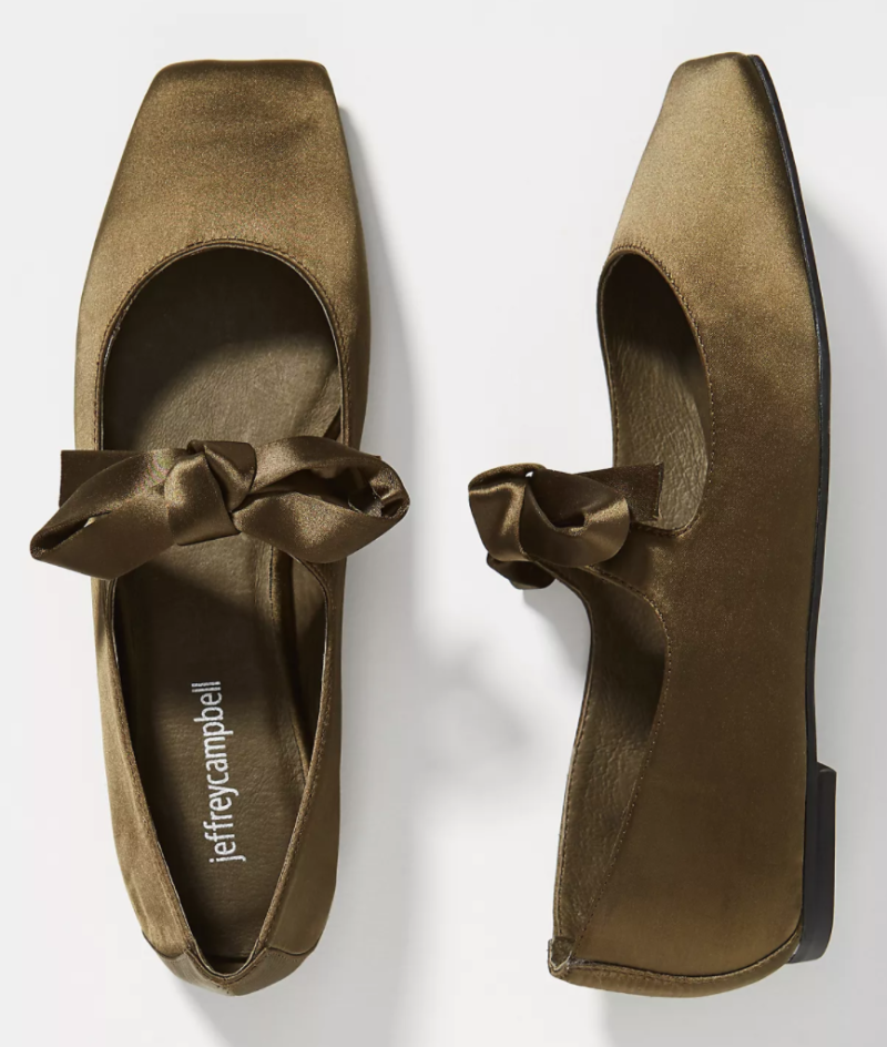 Jeffrey Campbell Bow Square-Toed Flats in Olive