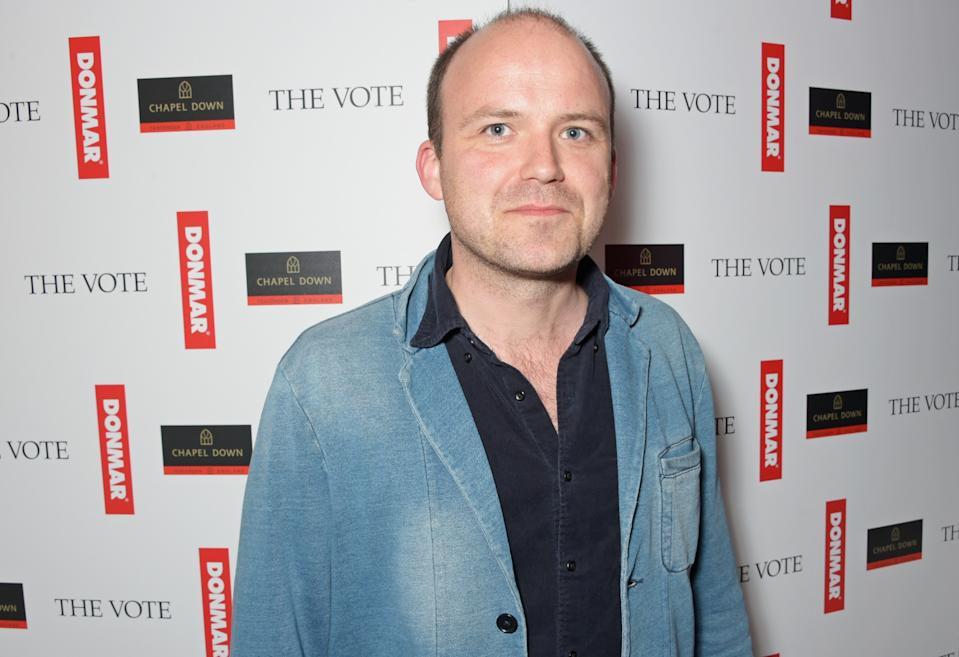 """LONDON, ENGLAND - MAY 07:  Rory Kinnear celebrates following the live broadcast of The Donmar Warehouse's production of """"The Vote"""" at the Ham Yard Hotel, generously supported by Chapel Down, on May 7, 2015 in London, England.  (Photo by David M. Benett/Getty Images for Donmar Warehouse)"""