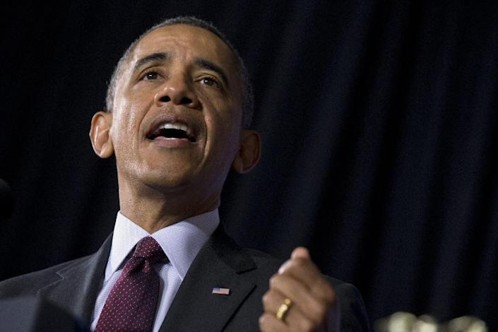 President Barack Obama speaks about his ConnetED goal of connecting 99% of students to next generation broadband and wireless technology within five years, Tuesday, Feb. 4, 2014, at Buck Lodge Middle School in Adelphi, Md. (AP Photo/Jacquelyn Martin)