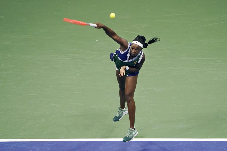 Sloane Stephens, of the United States, serves to Coco Gauff, of the United States, during the second round of the US Open tennis championships, Wednesday, Sept. 1, 2021, in New York. (AP Photo/John Minchillo)