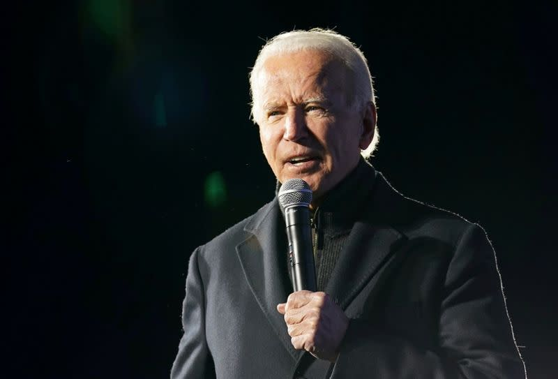 FILE PHOTO: Democratic U.S. presidential nominee Vice President Joe Biden speaks during a drive-in campaign rally at Lexington Technology Park in Pittsburgh