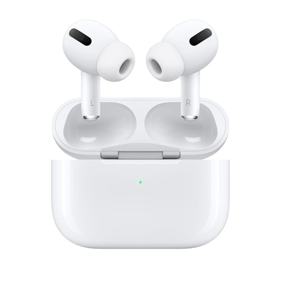 """<h3><h2>Apple AirPods Pro<br></h2></h3><br><strong>Under $250</strong> <br>If your audiophile dad isn't already coveting this much-hyped headphone style, his mind will be blown at the sound quality and sleek design of Apple's super-light noise-canceling powers. You can even have them engraved with his initials or favorite emoji. <br><br><em>Shop <strong><a href=""""https://www.apple.com/shop/product/MWP22AM/A/airpods-pro"""" rel=""""nofollow noopener"""" target=""""_blank"""" data-ylk=""""slk:Apple"""" class=""""link rapid-noclick-resp"""">Apple</a></strong></em><br><br><strong>Apple</strong> AirPods Pro, $, available at <a href=""""https://go.skimresources.com/?id=30283X879131&url=https%3A%2F%2Fwww.apple.com%2Fshop%2Fproduct%2FMWP22AM%2FA%2Fairpods-pro"""" rel=""""nofollow noopener"""" target=""""_blank"""" data-ylk=""""slk:Apple"""" class=""""link rapid-noclick-resp"""">Apple</a>"""