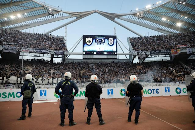 Soccer Football - Greek Cup Final - AEK Athens vs PAOK Salonika - Athens Olympic Stadium, Athens, Greece - May 12, 2018 Police look on before the match REUTERS/Alkis Konstantinidis