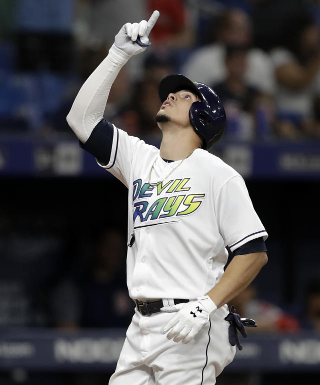Tampa Bay Rays' Willy Adames celebrates his solo home run off Boston Red Sox relief pitcher Josh Taylor during the seventh inning of a baseball game, Saturday, Sept. 21, 2019, in St. Petersburg, Fla. (AP Photo/Chris O'Meara)