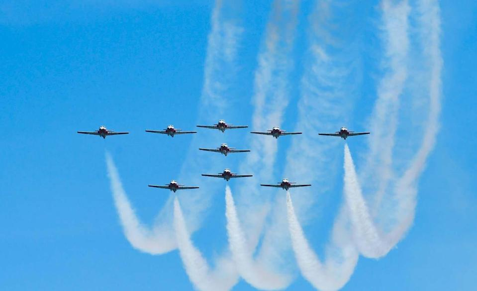 The Canadian Forces Snowbirds fly in formation during the OC Air Show on June 15, 2019, in Ocean City, Md.
