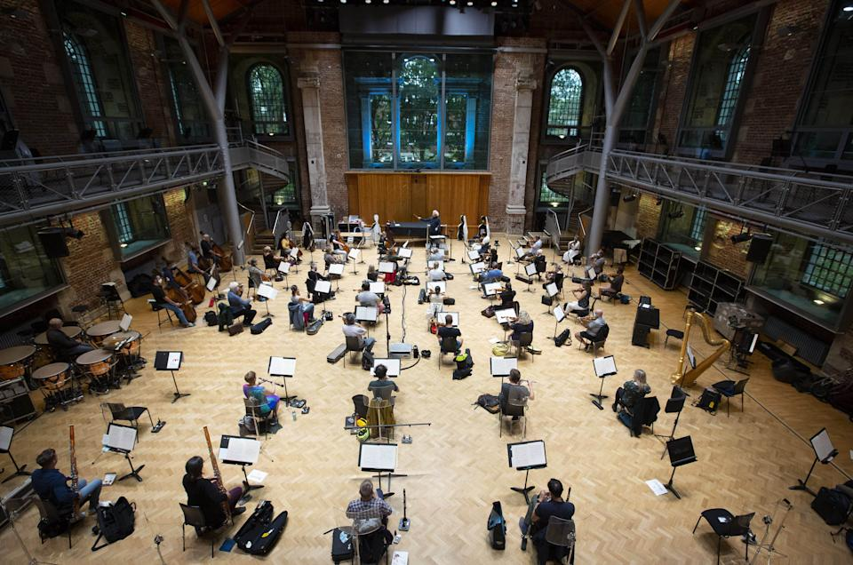 EDITORIAL USE ONLY Sir Simon Rattle rehearses with the London Symphony Orchestra at LSO St Luke's in London for the first time since March 2020, in preparation for a BBC Proms concert on Sunday 30 August.