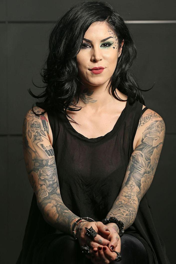 """<p>The famed tattoo artist and beauty entrepreneur announced her continued sobriety after years of drug and alcohol abuse with a celebratory <a href=""""https://www.instagram.com/p/BWQn_T4AbBN/"""" rel=""""nofollow noopener"""" target=""""_blank"""" data-ylk=""""slk:Instagram"""" class=""""link rapid-noclick-resp"""">Instagram</a> post this past July.</p>"""