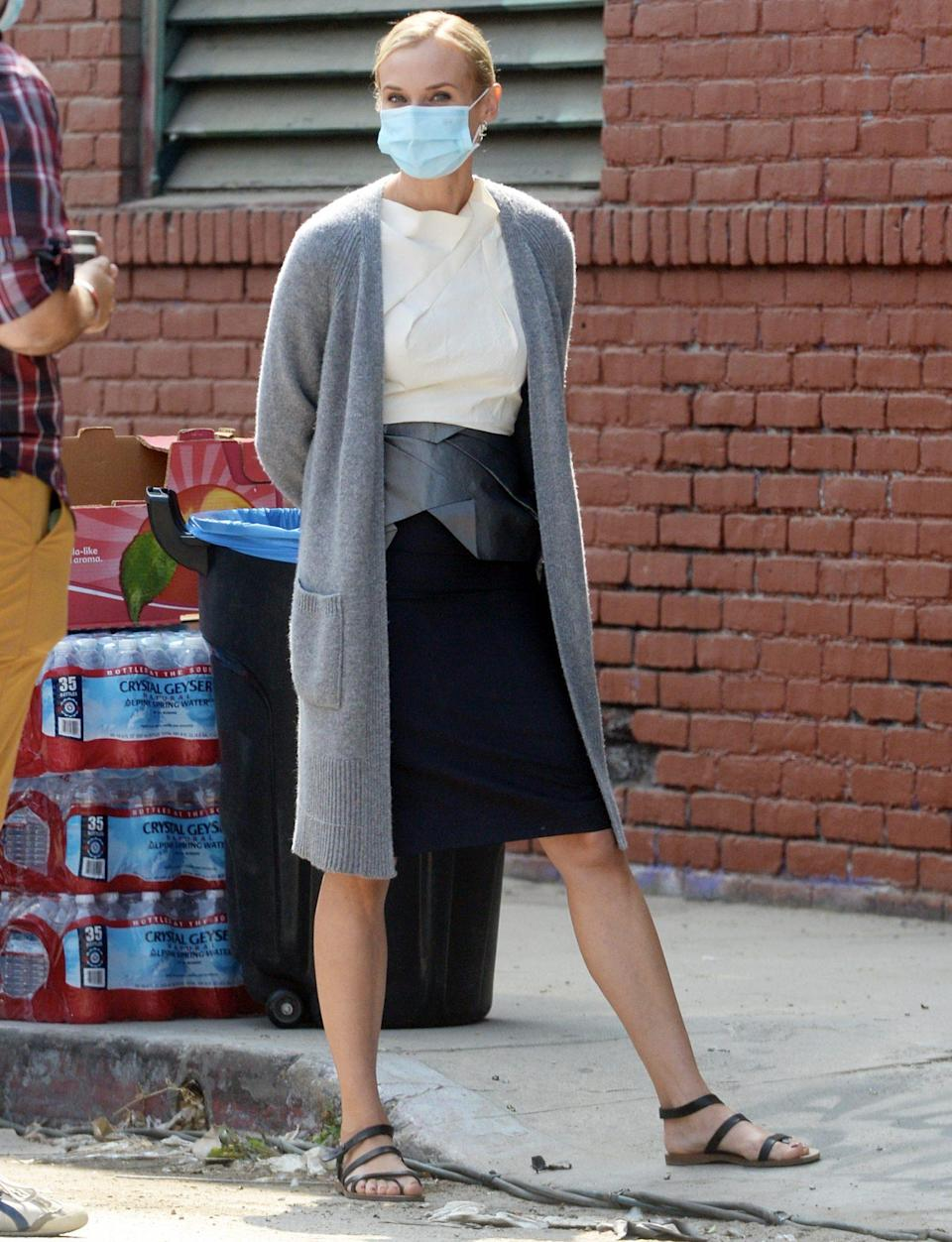 <p>Diane Kruger is seen wearing a mask while on set of her TV series <i>Swimming with Sharks</i> in L.A. on Thursday. </p>