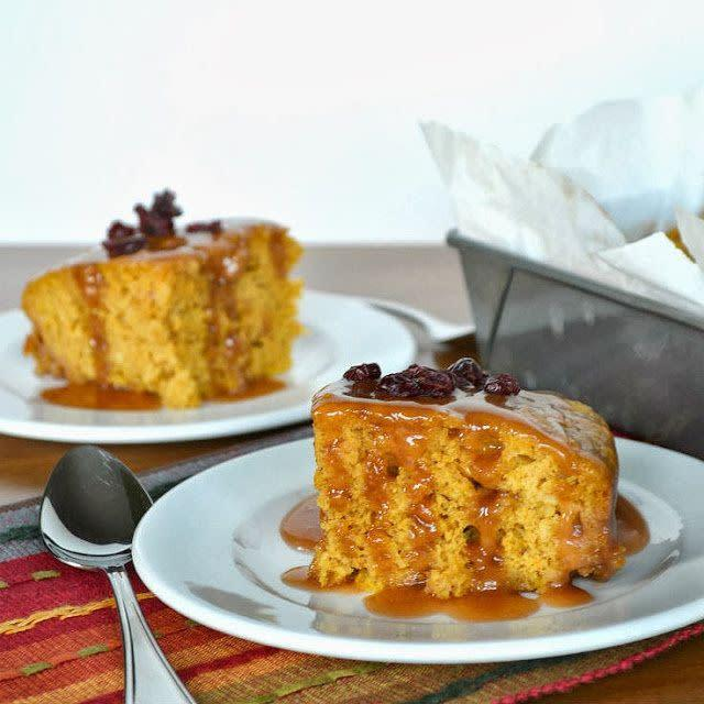 """This is an adaptation of a Lynn Crawford recipe, so of course it focuses on local and seasonal ingredients... and looks absolutely amazing. <a href=""""http://www.becauseilikechocolate.com/2013/09/pumpkin-sticky-toffee-pudding.html#.Un0hC_msjK6"""" rel=""""nofollow noopener"""" target=""""_blank"""" data-ylk=""""slk:Find the recipe at Because I Like Chocolate"""" class=""""link rapid-noclick-resp"""">Find the recipe at Because I Like Chocolate</a>."""