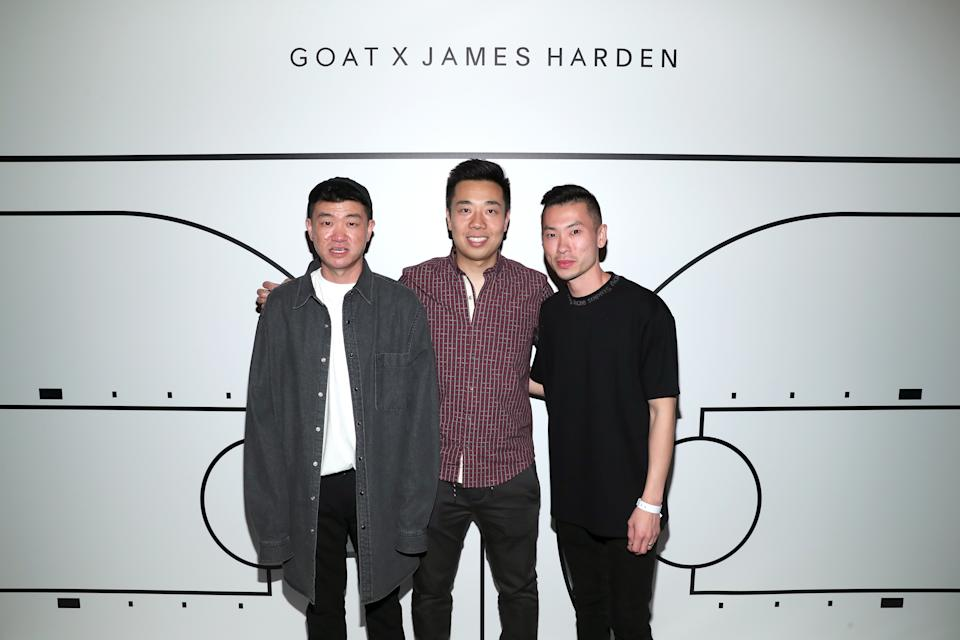 LOS ANGELES, CA - FEBRUARY 17:  (L-R) GOAT CPO Daishin Sugano, GOAT CEO Eddy Lu, and GOAT VP of Marketing Sen Sugano attend GOAT and James Harden Celebrate NBA All-Star Weekend 2018 at Poppy on February 17, 2018 in Los Angeles, California.  (Photo by Rich Polk/Getty Images for GOAT)