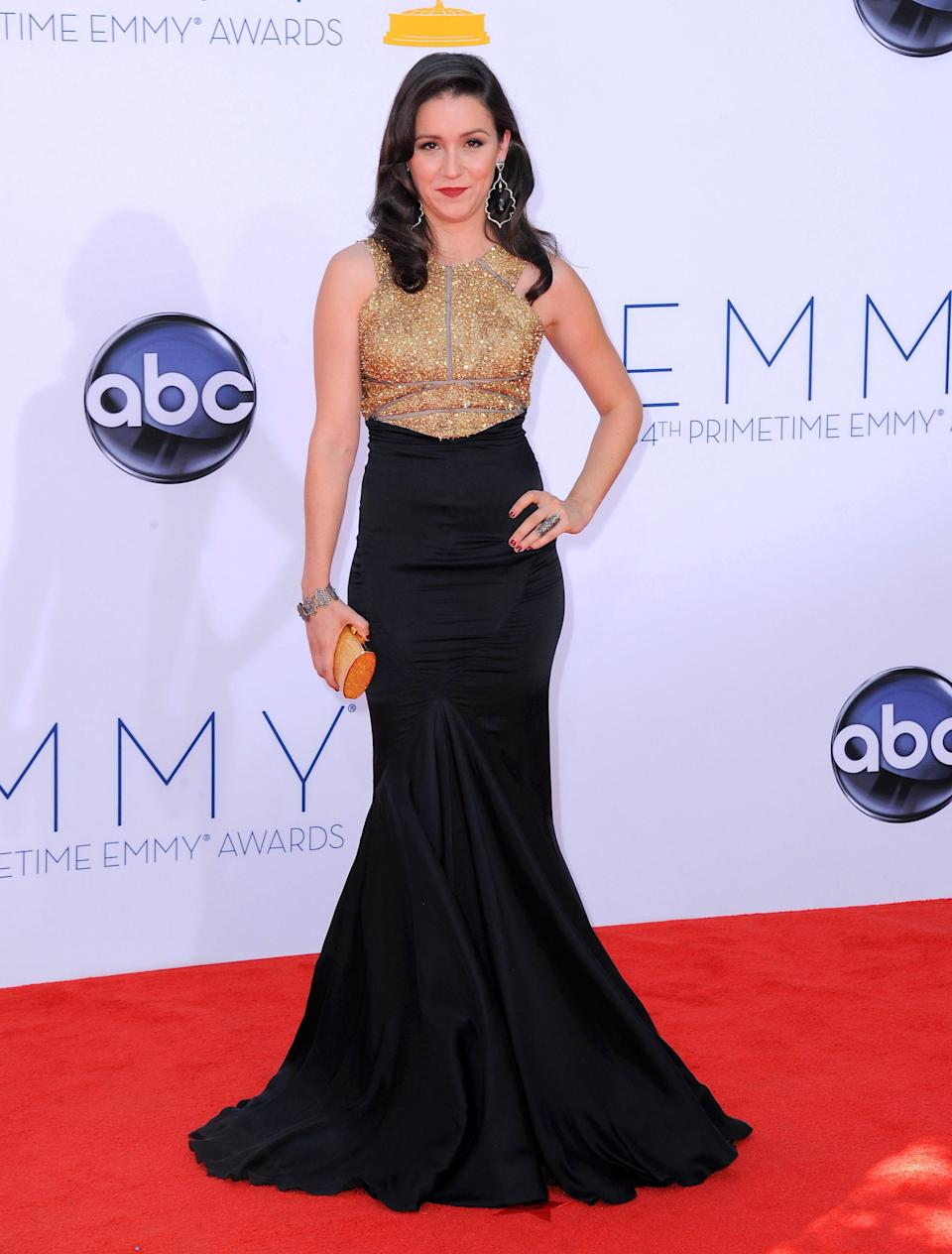 Actress Shannon Woodward arrives at the 64th Primetime Emmy Awards at the Nokia Theatre on Sunday, Sept. 23, 2012, in Los Angeles. (Photo by Jordan Strauss/Invision/AP)