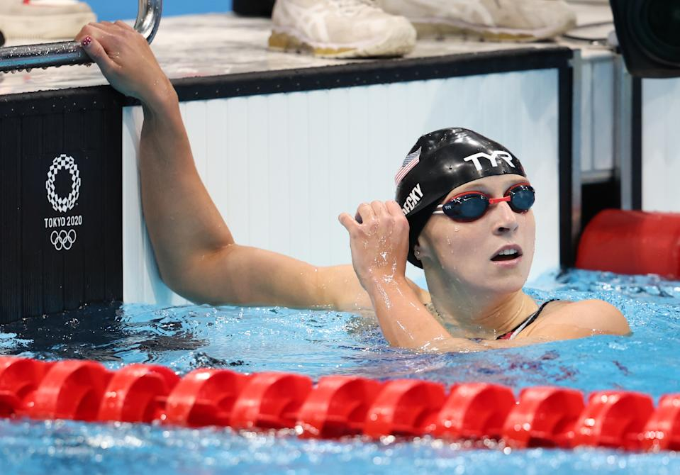 TOKYO, JAPAN - JULY 27: Katie Ledecky of Team United States reacts after competing in the Women's 200m Freestyle Semifinal on day four of the Tokyo 2020 Olympic Games at Tokyo Aquatics Centre on July 27, 2021 in Tokyo, Japan. (Photo by Tom Pennington/Getty Images)