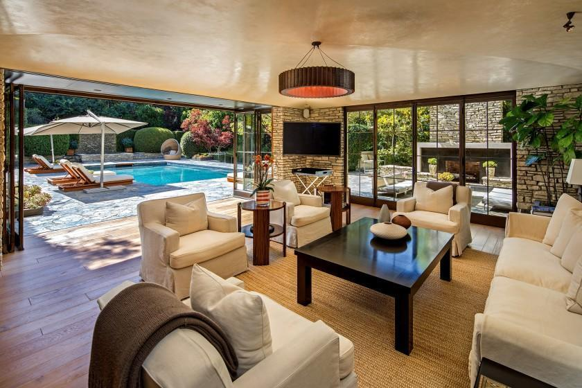 "The Wallace Neff-designed house, once owned by Brad Pitt and Jennifer Aniston, sold for $32.5 million. <span class=""copyright"">(Tyler Hogan)</span>"