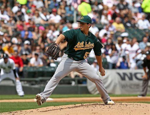 Oakland Athletics starting pitcher Tommy Milone throws to the Chicago White Sox during the first inning in a baseball game on Saturday, June 8, 2013. (AP Photo/Charles Cherney)