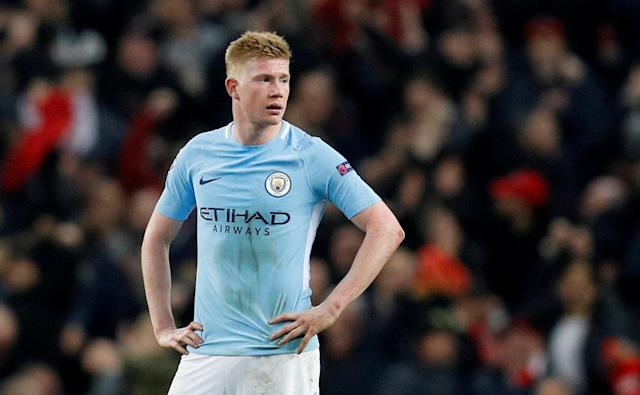 FILE PHOTO: Manchester City's Kevin De Bruyne in Champions League action at Etihad Stadium, Manchester, Britain - April 10, 2018. REUTERS/Darren Staples/File Photo