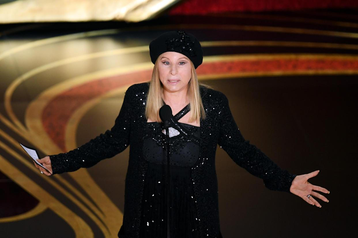 HOLLYWOOD, CALIFORNIA - FEBRUARY 24: Barbra Streisand speaks onstage during the 91st Annual Academy Awards at Dolby Theatre on February 24, 2019 in Hollywood, California. (Photo by Kevin Winter/Getty Images)