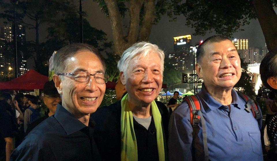 (Left to right) Democratic Party founding chairman Martin Lee Chu-ming, Occupy movement co-founder Reverend Chu Yiu-ming, and media boss Jimmy Lai at the June 4 candlelight vigil at Victoria Park in 2019. Photo: Alvin Lum