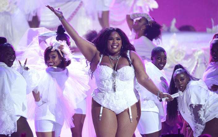 """Lizzo performs """"Truth Hurts"""" at the BET Awards in Los Angeles on June 23, 2019. (Photo by Chris Pizzello/Invision/AP)"""