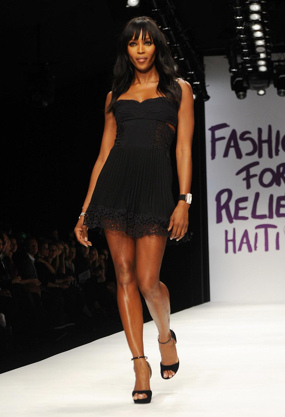 <p>Campbell used her runway prowess for good through her Fashion for Relief. In 2010, her London show raised disaster relief for the people in Haiti.</p>