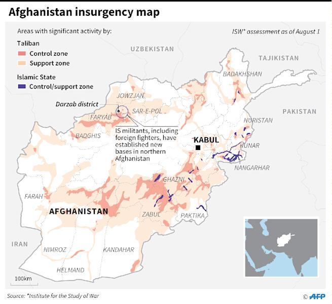 Insurgency map in Afghanistan. (AFP Photo/Laurence CHU)