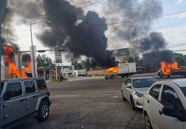 PHOTO: A view of vehicles on fire during a clash between armed gunmen and Federal police and military soldiers, in the streets of the city of Culiacan, Sinaloa state, Mexico, Oct. 17, 2019. (STR/EPA via Shutterstock)