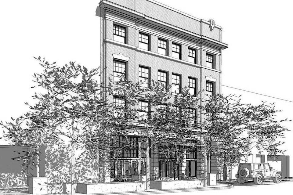 The exterior of the Averyl Building will be restored to match how it looked in 1910. Changes were made to the building in the 1970s.