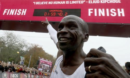 """As the two-hour marathon barrier is breached and with records tumbling every year, we explore sport's science, skill and sheer guts. There are a handful of numbers that are imbued with meaning. Roger Bannister's 3:59.4. Usain Bolt's 9.58. And now Eliud Kipchoge's 1:59:40. Kipchoge's extraordinary sub-two-hour marathon in Vienna on Saturday is one of the greatest sporting achievements – recording a time that has never been achieved before and pushing the limits of human ability, again. It is a time on the fringes of what scientists believe is humanly possible. And yet record-breaking events such as Kipchoge's seem increasingly common. Last week Simone Biles became the first female gymnast to win a fifth world all-around title, using two signature moves that no other woman has ever achieved. Sarah Thomas swam the English channel four times in a row, 134 miles (215km) in open seas in 54 hours. Dalilah Muhammad broke the 400m hurdles world record twice this year and Sifan Hassan did the same for the 5km and one mile events. In men's athletics, Geoffrey Kamworor is waiting to hear if his half marathon time of 58:01 will be ratified, while Julien Wanders set a new 5km record in February. And don't forget the nine men's swimming world records Adam Peaty and others have set this year. So far. """"It is a great feeling to make history in sport after Sir Roger Bannister in 1954,"""" Kipchoge said afterwards, predicting that others would repeat the feat. """"I am the happiest man in the world to be the first human to run under two hours and I can tell people that no human is limited."""" Is he right? Where are the limits of human ability? And how close are we to reaching them? Sports scientists generally agree there are theoretical limits. Michael Joyner, a marathon runner and physiologist, published a paper in 1991 examining the three defining elements of a distance runner: VO2 max, the maximum amount of oxygen a body can take on; running economy, the rate at which the body uses energy; """