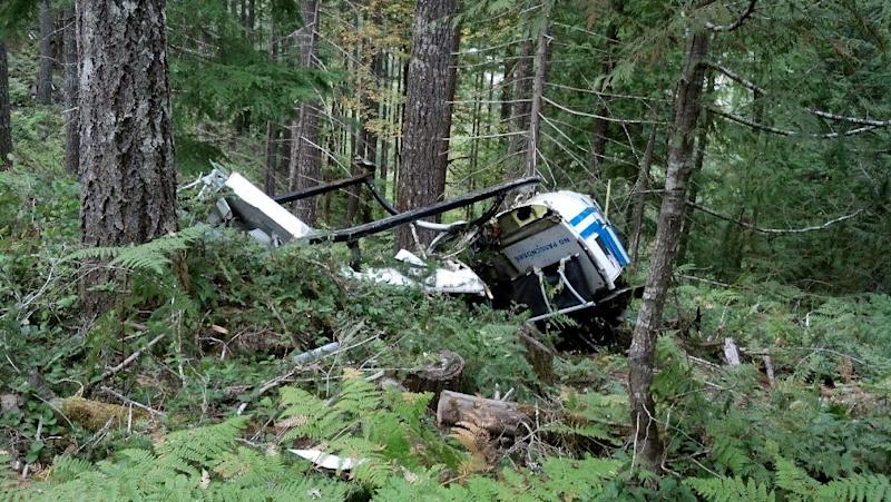 "This photo provided by the Linn County Sheriff's Office shows a helicopter crash in Linn County, Ore. on Monday, Sept. 16, 2013. The pilot killed when his helicopter crashed while attempting to lift logs in an Oregon forest has been identified as a former cast member of the History Channel series ""Ax Men."" William Bart Colantuono appeared in season three of the show. Producers issued a statement of condolences to the family and friends of the 54-year-old from Indialantic, Fla. Federal investigators are trying to determine the cause of Monday's crash. Witnesses told Linn County deputies the pilot released the logs before crashing, indicating he knew of a problem. Witnesses said they also saw a rotor separate from the copter before it flipped and crashed upside down. (AP Photo/Linn County Sheriff's Office)"