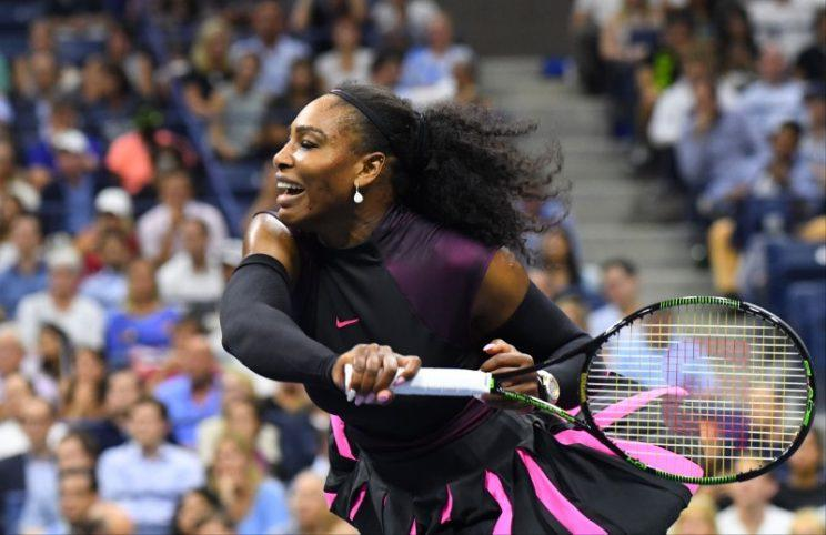 Serena Williams hits a shot to Vania King during the 2016 U.S. Open. (Robert Deutsch-USA TODAY Sports / Reuters)