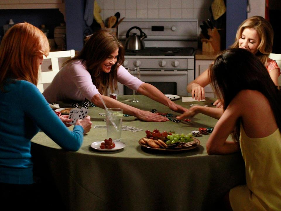 The gang sits around a table in the blandly happy Desperate Housewives finaleABC